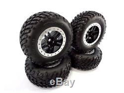 NEW TRAXXAS 2wd SLASH SET OF BLACK & SILVER 12mm WHEELS WITH SPEC TIRES