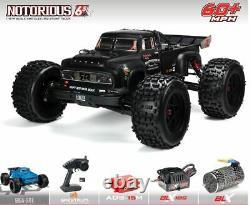 NEWARRMA 1/8 NOTORIOUS 6S BLX 4WD Brushless Stunt Truck ARA106044T1 Black