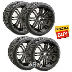 Sweep Racing SRC Road Crusher Belted Tires 17mm Hex Black Wheel (4) 1/8