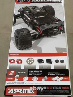 Arrma Kraton 1/5 Exb Extreme Bash Roller Speed 4wd Monster Truck Noir Nouveau