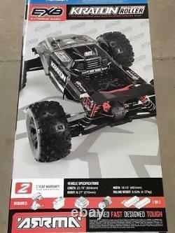 Arrma Kraton 1/8 Exb Extreme Bash Roller 4wd Monster Truck Noir Ara106053 Nouveau