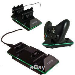 Brand New Xbox One Orb Double Contrôleur De Charge Dock Noir Avec Piles 020908