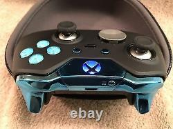 Elite Xbox One 1 Contrôleur Personnalisé Bleu Led, Boutons, Abxy Avec Des Lettres