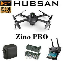 Hubsan Zino Pro 4.5km Wifi Fpv Rc Drone Avec 4k Caméra Hd 3-axis Gimbal + 3battery