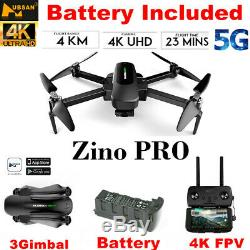 Hubsan Zino Pro Drone 4k Caméra Fpv Pliable Quadcopter 3gimbal Gps Rth + 2battery