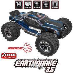 Redcat Racing Tremblement De Terre 3.5 Echelle 1/8 4x4 Nitro Rc Monstre Camion Noir / Bleu Nouveau