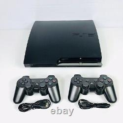 Sony Playstation 3 Ps3 Slim 320gb Console Bundle Avec Deux Contrôleurs