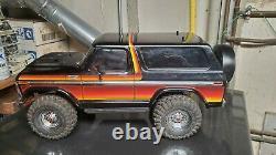 Traxxas Trx4 1979 Bronco Rock Crawler Noir Coucher De Soleil Complet Led Kit Extras